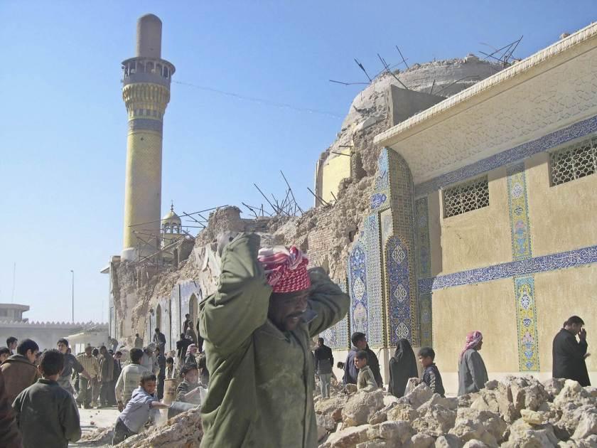 Mezquita de Al Askari en Samarra destruida