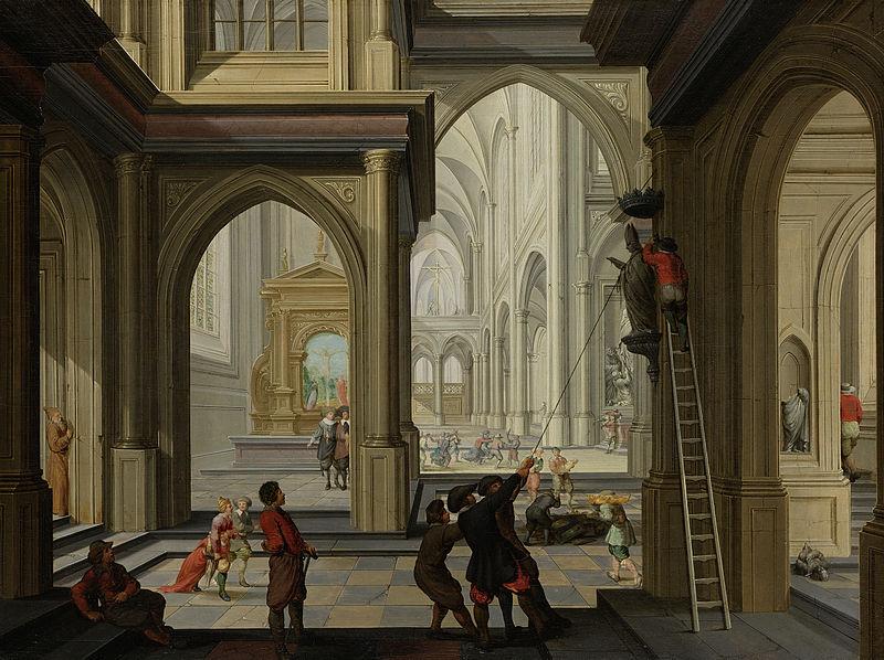 iconoclastas en una iglesia de Dirck van Delen